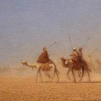 """שארל תאודור פרר, """"שיירה חוצה את המדבר"""", שמן על בד, 1837. מתוך אוסף המוזיאון לאמנות בריינס"""