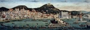 """פרנצ'סקו  רוסלי, """"הצי של כתר אראגון חוזר לנאפולי"""", 1487"""