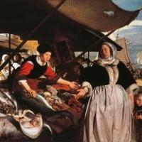 """עמנואל דה ויט (1617-1692), """"אדריאנה ואן-הוייסדן ובתה בשוק הדגים"""", שמן על בד"""