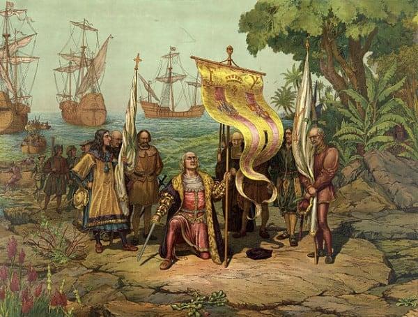 כריסטופר קולומבוס מגלה את אמריקה. ציור: L. Prang & Co., Boston 1893