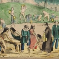 ליתוגרפיה של הוצאת האחים קלוג מאמצע המאה ה-19, בימי בהלת הזהב בקליפורניה. באדיבות ספריית אוניברסיטת ייל
