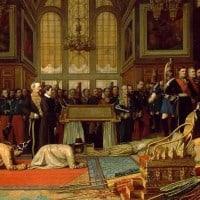 """ז'אן-לאון ז'רון, """"קבלת כתב האמנה של שגרירי מלוכת סיאם עי-ידי הקיסר נפוליאון השלישי"""", שמן על בד, 1864, מוזיאון פונטנבלו"""