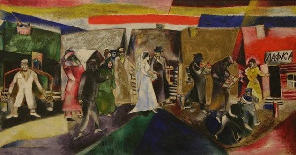 """""""לילה, חתונה יהודית"""" 1910, מאת מארק שאגאל. צילום: Playing Features פליקר"""