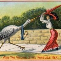 גלויה סאטירית של תנועת שחרור האישה מתחילת המאה ב-20