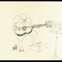 Lot 89, untitled ink drawing of a four-eyed guitar player. מעזבונו של ג'ון לנון