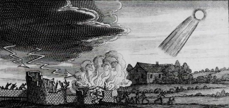 גילוף בעץ משנת 1668 המתאר את השלכותיו ההרסניות של כוכב שביט מהמאה ה-4 לספירה, ככל הנראה.