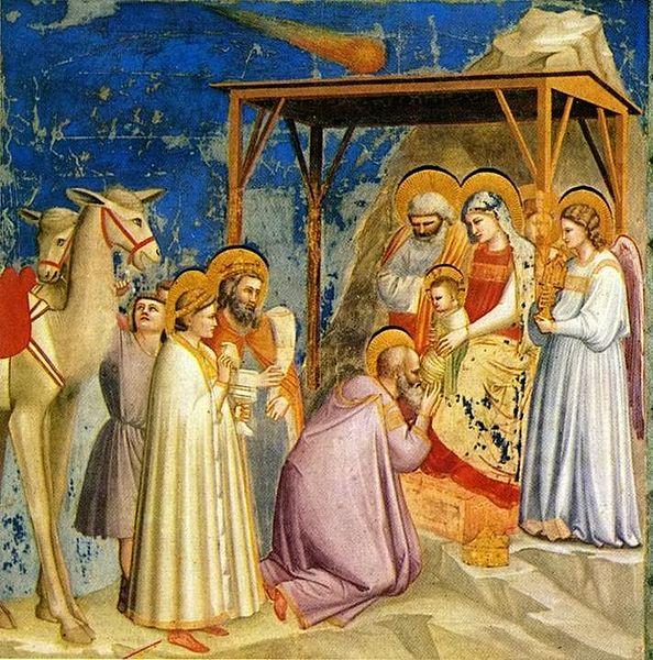 חיי ישו, הערצת שלושת האמגושים, מאת ג'וטו די בונדונה ב-1305. פרשנים מאמינים שהייצוג של כוכב בית לחם בציור מבוסס על תצפית של כוכב השביט היילי 4 שנים קודם לכן