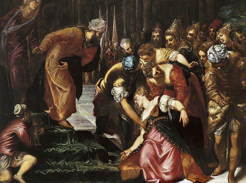 """ציורו של טינטורטו """"אסתר לפני אחשוורוש"""". האוסף המלכותי, בריטניה"""