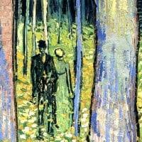 שתי דמויות ביער ציור