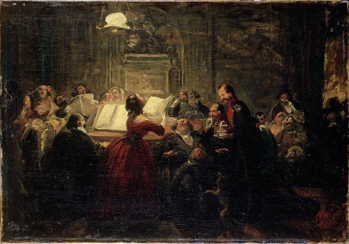 """יוהן פטר האסנקלאבר, """"מפגש לעת ערב"""", שמן על בד, 1865."""