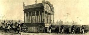 שחזור של הלווייתו של אלכסנדר הגדול מהמאה ה-19. מקור לא ידוע