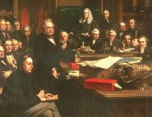 פלמרסטון נואם בבית הנבחרים הבריטי ב-1863.