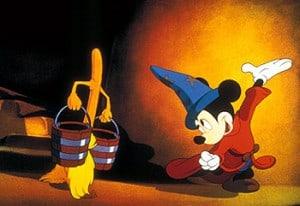"""""""שוליית הקוסם"""" מתוך הסרט פנטזיה של וולט דיסני, 1940."""