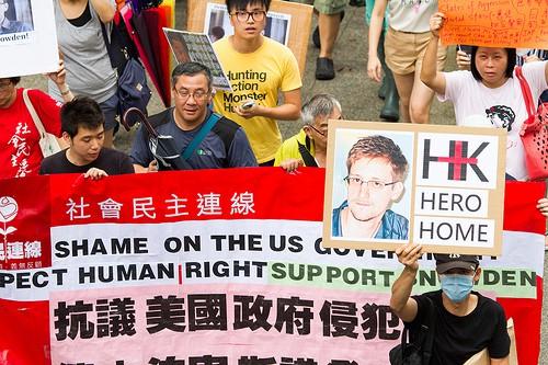 הפגנת תמיכה באדוארד סנודן בהונג קונג, מקום מסתורו. צילום: סי-מינג לי