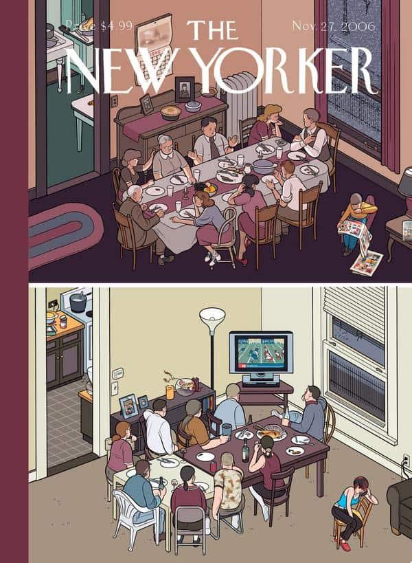 """משפחה בהפרש של 70 שנה, איור של כריס וור לשער השבועון """"ניו יורקר"""""""