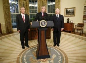 """הנשיא בוש מכריז על רוברט גייטס כמחליפו של דונלד רמספלד בתפקיד מזכיר ההגנה של ארה""""ב. צילום: הבית הלבן"""