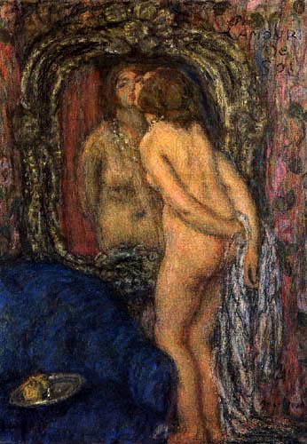 """אדמון אמאן-ז'אן (1858-1936), """"אהבה עצמית"""", שמן על בד."""