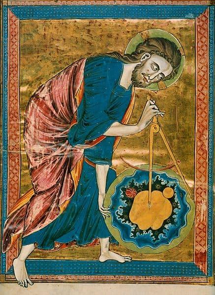 """הציור הגותי """"אלוהים הוא גאומטריקן"""" מהמאה ה-13."""
