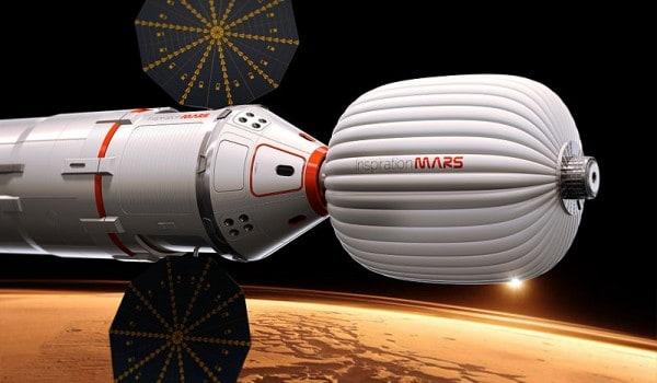 הדמייה של החללית של Inspiration Mars Foundation