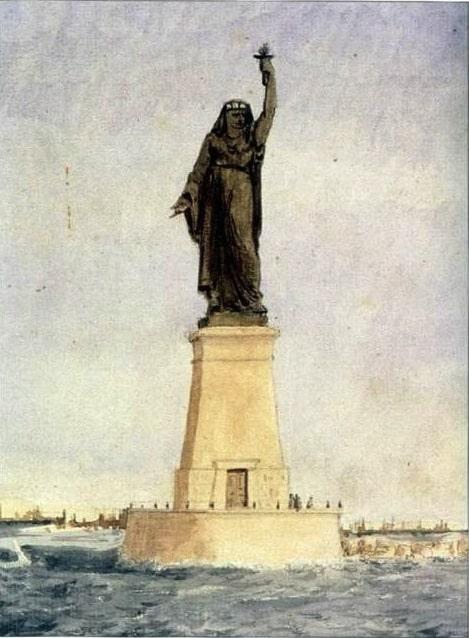 """ציור של ברתולדי """"מצרים מביאה את האור לאסיה"""" 1869"""