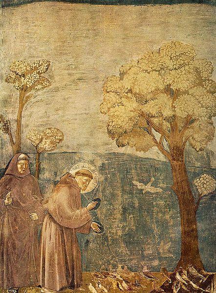 ג'וטו, דרשה אל הציפורים, 1297-99, פרסקו.  כנסיית פקנסיסקוס באסיזי, איטליה