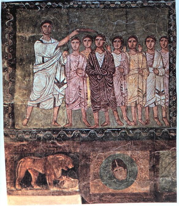 שמואל הנביא בוחר את דוד למלך, בית הכנסת בדורה אירופוס