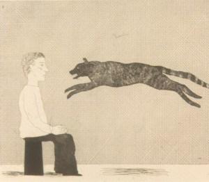 """ציור פחם של הוקני """"Black cat leaping"""". צילום מאת ממשלת האי מאן."""