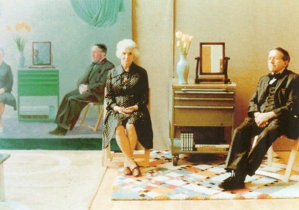 """ההורים של הוקני מדמנים לציורו """"My Parents"""" 1975. צילום: Playing Futures Applied"""
