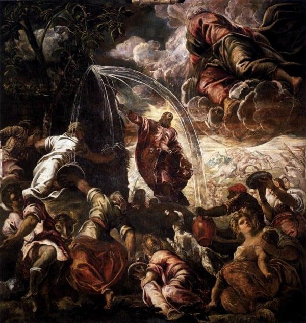 משה מכה בסלע עם המטה, טינטורטו.  שמן על בד, 1577