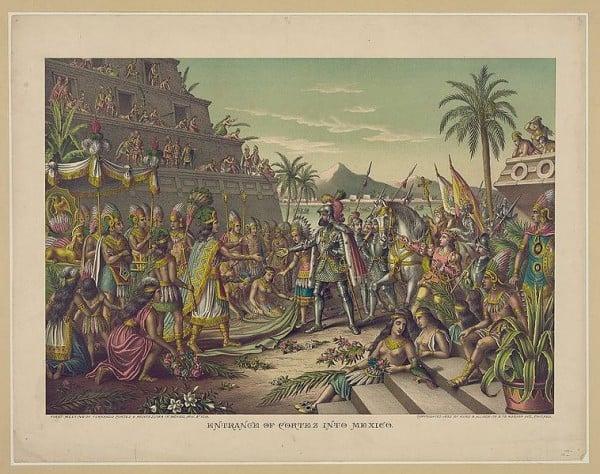שליט האצטקים מונטזומה נפגש עם הנאן קורטז הספרדי במאה ה-15. מקור הציור: Kurz & Allison