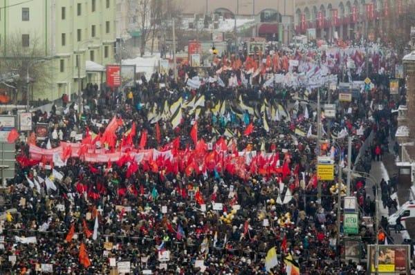 הפגנה נגד נשיא רוסיה ולדימיר פוטין בפברואר 2012.