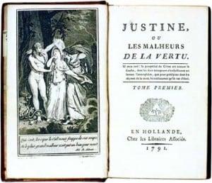"""העמוד הראשון מספרו של סאד """"ז'וסטין"""""""