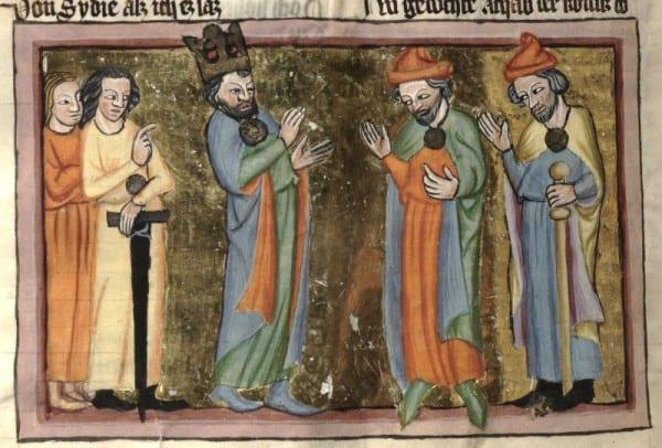 אליהו הנביא מול אחאב, איור משנת 1350 לערך