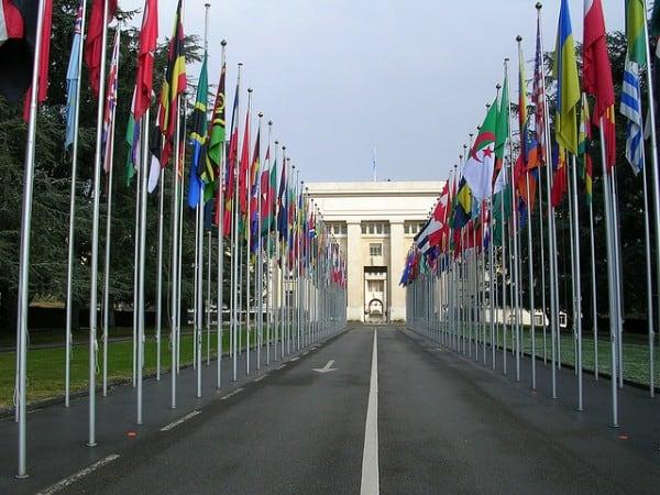"""שדרת הדגלים המייצגים את המדינות החברות באו""""ם בג'נבה"""