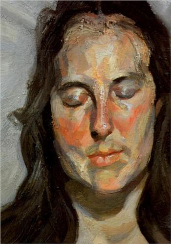 אישה עם עיניים עצומות, לוסיין פרויד. מקור: וויקפדיה