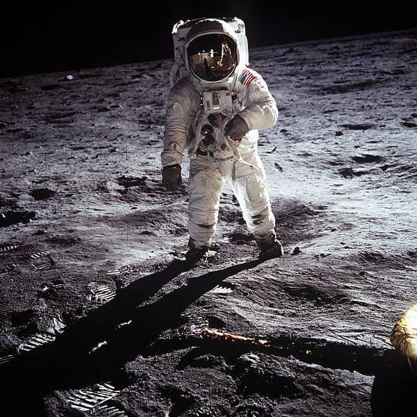 האסטרונאוט באז אולדרין על הירח, יולי 1969.