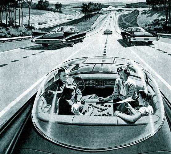 פרומת של חברת חשמל אמריקאית ב-1956 המציגה את העתיד עם מכוניות ללא נהג