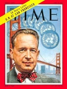 """המרשלד על שער המגזין טיים. בשנותיו הראשונות כמזכ""""ל האו""""ם הסתובבה שמועה שהוא הומו"""