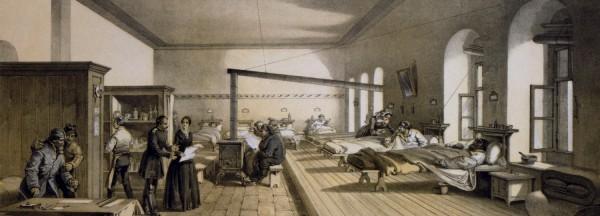"""מלחקה בבית חולים שבו עבדה פלורנס נייטינגייל בטורקיה במאה ה-19 . איור: הקונגרס הלאומי של ארה""""ב"""
