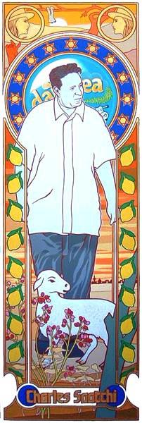 ציור של צ'ארלס סאצ'י מאת האמן פול הארווי