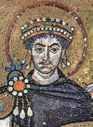 יוסטיניאנוס הראשון על גבי פסיפס בבזיליקת סן ויטאלה ברוונה
