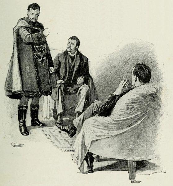 שרלוק הולמס, דוקטור ווטסון ומלך בוהימיה באיור מכתב העת סטראנד בו פורסם הסיפור לראשונה ב-1891