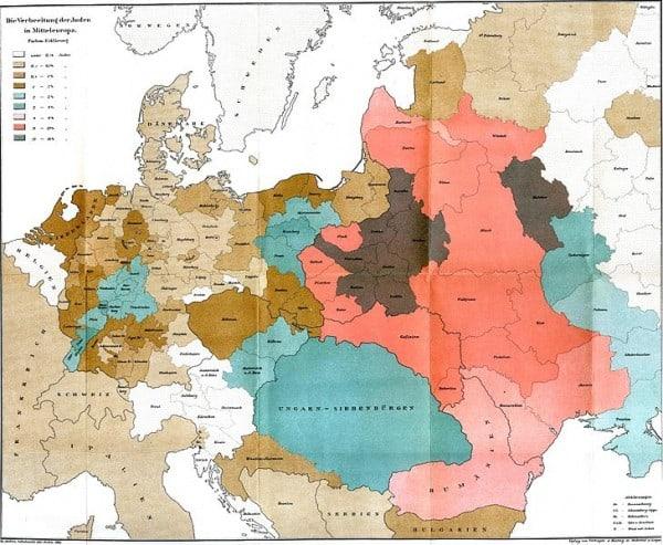 מפה של פיזור יהודי אירופה ב-1881. בוורוד: בין 13-9 אחוזים מהאוכלוסיה היו יהודים; אפור כהה: 18-13 אחוזים.