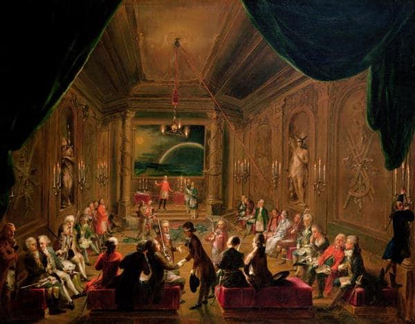 מפגש של הבונים החופשיים בווינה, 1789. פרשנים סבורים שהאיש שיושב על ספסל בפינה הימנית הקדמית של החדר הוא מוצרט. ציור: Ignaz Unterberger