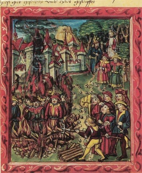 שורפים יהודים על המוקד במאה ה-14, בעת המגפה השחורה.