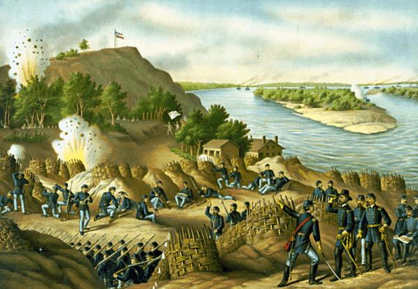 מצור על ויקסבורג, שהתרחש בסביבות 1863, בעת מלחמת האזרחים. איור: ספריית הקונגרס האמריקאי