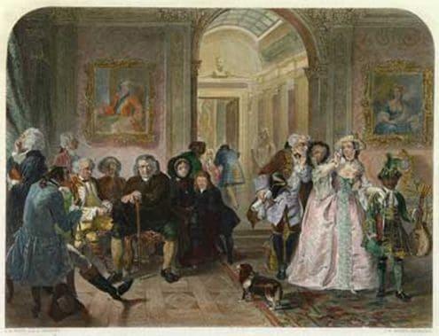 סמואל ג'ונסון יושב במרכז החדר בביתו של הרוזן הרביעי מצ'סטרפילד. איור מהמאה ה-18.