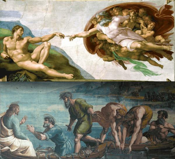 למעלה: בריאת האדם מאת מיכאלאנג'לו. למטה: The Miraculous Draught of fishes מאת רפאל, אחד מהציורים שהפכו לשטיחים בקפלה הסיסטינית