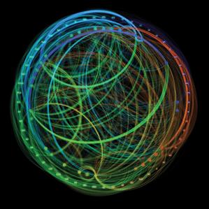 סימולציה של IBM למסלולים עצביים ארוכי טווח במוחו של קוף מקוק, ששימשה כבסיס לייצור שבבים דמויי-מוח