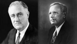 """מימין: אלפרד לנדון ונשיא ארה""""ב פרנקלין רוזוולט"""